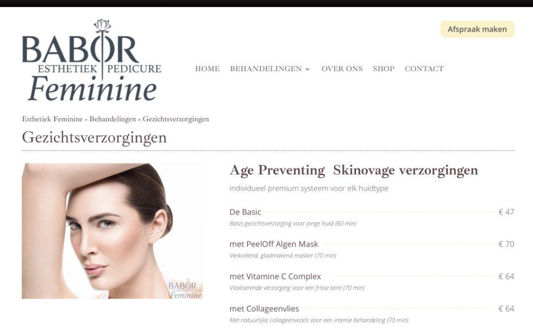 Nieuwe website: Esthetiek & Pedicure Feminine